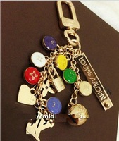 Newest Style and Classic Main Design. Tassel Multi-color Small Oil Dripping Disc Key chain with BOX & Dust Cloth. Free Shipping