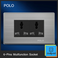 Free Shipping, POLO Luxury Wall Socket Panel, 6-Pins Multifunction Socket, Power Electrical Outlet, Plug,10A, 110~250V