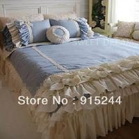 Free shipping Korean ruffle 4pcs Bedding set Household rustic bedding kit cotton princess bluewhite duvet covers queen king size