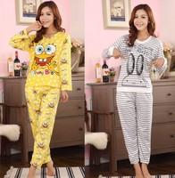 Fashion autumn winter women's pajamas set,new women cotton clothing set,sweet   nightwear sleepwear, Free shipping