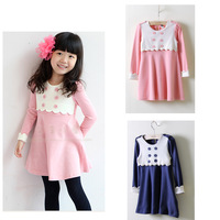 2013 new spring and autumn girls dress children clothing children princess bow dress retail + free shipping