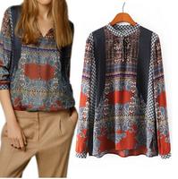 New 2014 Fashion Totem Print Retro Women Blouse Long-Sleeve Stand Collar Lady Casual Shirt Autumn Elegant Brand Design Tops