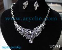 T6971,New 2014 Fashion Bridal Wedding Jewelry Set,Costume Crystal zinc alloy Jewelry Sets