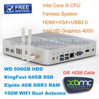 Linux Server XBMC Openelec HTPC Fanless Mini PC i5 4 USB3.0 HDMI VGA 4GB RAM 500GB HDD 64GB SSD IR Remote Control Medial PC