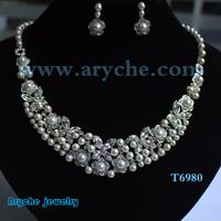 Free shipping silver plated jewelry set Wedding Fashion zinc alloy Jewelry designEarring Rhineston Necklace&Earrings T6968