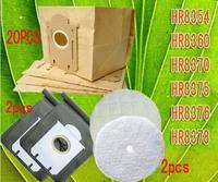 20Piece vacuum cleaner bags dust bag Replacement for FC8224  FC8226 FC8312  FC8382  FC8384 + non-woven bag 2pcs Filter 2PCS