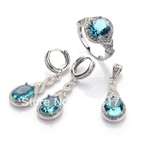 Fashion Dark Blue Cubic Zirconia 925 silver Micro inlays jewelry Casual heart  set (ring/earring/pendant) 3161 set sz6 7 8 9