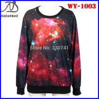 Autumn Women Sweatshirts Cosmic Red and Black Galaxy 3D Printed Sweatshirts Long Sleeve Casual Sport Suit
