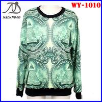 Autumn Women Sweatshirts US Dollar Digital Printed Sweatshirts Long Sleeve Loose Casual Women Hoody Sport Suit WY-1010