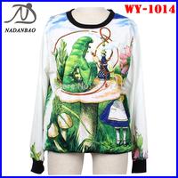 Fashion Women Sweatshirts Alice 3D Digital Print Sweatshirts Long Sleeve Crew Neck Black Loose Women Hoody Sport Suit