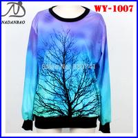 Women Sweatshirts Moonlight Tree Lightning 3D Printed Sweatshirts Long Sleeve Galaxy Space Loose Sport Suit WY-1007