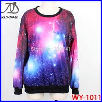NEW Women Sweatshirts Cosmic Purple Galaxy Space Digital Print Long Sleeve Crew Neck Black Milk Sky Loose