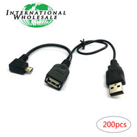 Wholesale Left Angled Micro USB OTG Cable with extral USB Power for i9100 i9300 i9250 i9500  N7100 N9000
