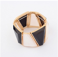 Factory Outlet big fashion stretch women bracelet resin stones inlay metal bangle cxt96371