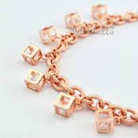 New Fashion Jewelry Womens Girls Oval Chain Square Charms w Crystal 18K Rose Gold Filled Bracelet Free Shipping GFB112