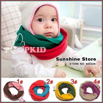 Sunshine store #2D2518  5 pcs/lot (4 colors)baby Scarf children Kid colors matching ChevronScarf knitted Neck Warmer/Gaiter CPAM
