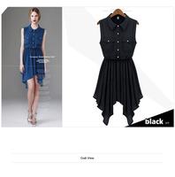 2014 New Arrival Summer Hot Selling Blouse Dress, Sleeveless Asymmetrical Knee Length Dress 2 Colors Y/638