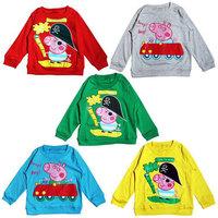 Wholesale 12 pcs/lot 2013 New Children's Autumn Shirt,Peppa Pig Cartoon Designer Long Sleeve T shirt,Kids Unisex Cotton Shirts