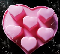 New style(1pc/lot)Green Silicone heart Cake mold 6 heart chocolate mold  Ice Cube Handmade Soap Mold Bakeware Mold