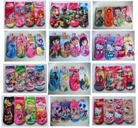 New 2014 Baby Girls Cotton Socks For 2-8 years Cartoon Kids Princess Socks Short 12pcs/lot More Style Free Shipping