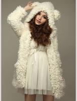 Fashion Girls Autumn/winter Plush Velvet Jacket, Lovely Bear Ear Hooded Pocket Outerwear Fleece Coat