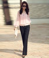 East Knitting FREE SHIPPING  Women chiffon long-sleeve collar Shirts 2014 fashion womans blouses top sale