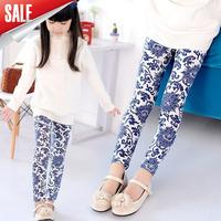 2014 NEW Autumn Children's Floral Printing Leggings Girl's Blue legging 100-140cm Height Pencil Pant Trousers,baby girl leggings