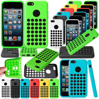 Soft Colorful Silicon Hollow Holes Case for iphone 5c Soft Circle hollow Dot Dots Fashion For iphone5c Free Shipping