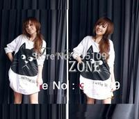 Women's Autumn Round Neck Loose Black Cat Long Sleeve T-shirts Dress 2 Colors White/Gray 7190
