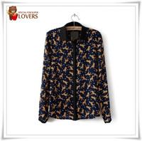 Vintage Women Blouse Shirts Sexy Lace Embroidered Shoulder leopard Tops Jacket shirt Fashion Chiffon Shirt  40505