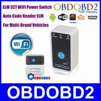 Hotsale Latest 2014 MINI Super WIFI ELM 327 OBD/OBDII Wireless For iOS/Android ELM327 Power Switch ON/OFF CAN-BUS Tool CNP Free