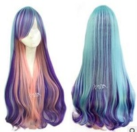 free shipping  80cm long women lolita multicolors mixed gradient Japanese harajuku wind big wavy curly hair  anime cosplay wigs