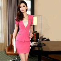 2013 Women's Work Wear Professional Skirt Suit Offices Business Suits Uniform Summer Autumn Leopard Piping Outerwear and Skirt