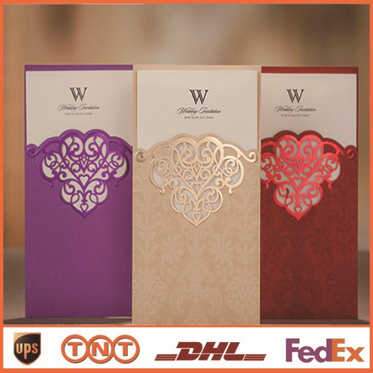 Convites de casamento Convites de casamento China Romantic Printable livre impressão roxo vermelho Cartões Laser Cut HQ0038a elegante(China (Mainland))