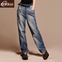 Plus size elastic high waist straight jeans female trousers loose 2013 autumn