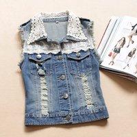 Fast shipping Korean version of the new lace jeans vests sleeveless vest fashion women coats 2013 plus size denim jacket