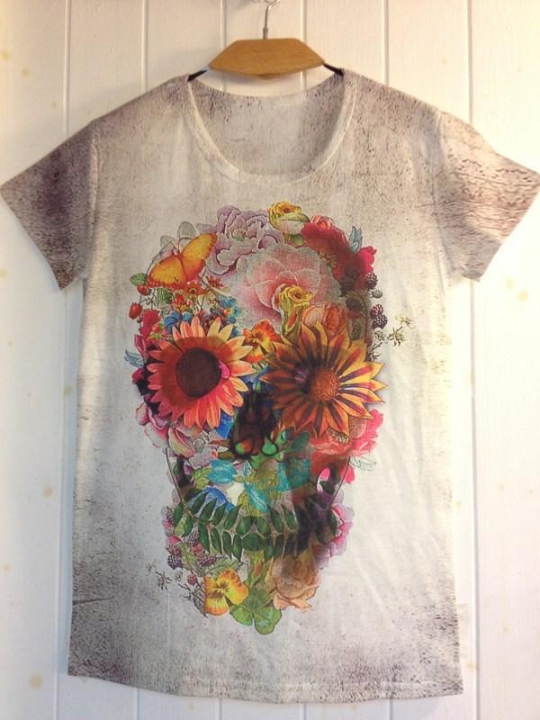 2014 New Arrivals Women/Men Summer Flower Skull Head Print T shirt Cool Rock&Roll Top Fashion Novelty Tee Free Shipping(China (Mainland))