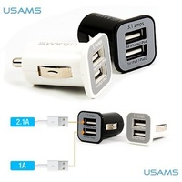 200pcs/lot *USAMS Micro 3.1A Double Dual USB Car Charger adapter For all IPhone/ipod/ipad/samsung/all mobile phone