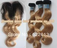 Body wave 1pcs lace closure with 3pcs hair bundle Virgin brazilian hair weave 12''-28''Cheap two tone color #1b/#27 Freeshipping