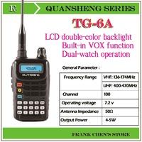 Portable Two Way Radio QUANSHENG Two Way Radio UHF/VHF Dual Band Transceiver  TG-6A  Free Shipping