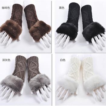 Korean cute wool gloves knitted warm imitation fur half finger women gloves