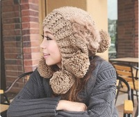5 color Autumn and winter hat female knitted hat winter wool hat beanis skullies rabbit fur ball knitted warm hats for women