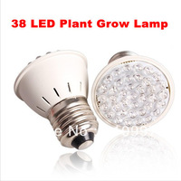 Free Shipping 2 Pcs Red Blue 38 LED Bulb Energy Saving Hydroponic Plant Grow Light Lamp Set New