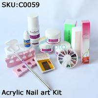 Freeshipping-14pcs/set DIY Acrylic Nail art Kit withLiquid / Powder / glue / forms/brush Full tools Retail & Wholesale SKU:C0059