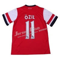 Top thailand quality 2014 Arsenal soccer jersey #11 OZIL,Free shipping Arsenal Football shirts home Red