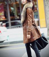 New fur collar winter water washed PU leather jacket women coat long slim women's fur coat female jackets Plus Size 3XL
