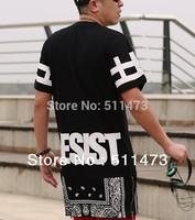 2014 hiphop unisex women men Bandana Print CEASE DESIST rhude Graphic  extra long Tee T Shirt Tyga Paisley Side Zip