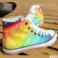 2014 100% DIY /gradient color high canvas  lovers shoes personality female  Camouflage rainbow Sneakers shoes for women /men