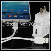 US Adapter Genuine Wall Charger ETAU90HWE 100pc + Micro USB Charger Cable 100pcs For Samsung Note 2 200pcs/lot