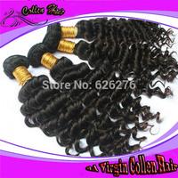 High quality mixed length 3pcs lot no tangle brazilian hair weave virgin curly hair extension
